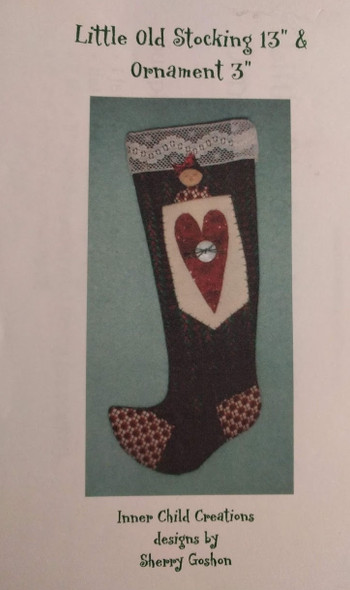 """Little Old Stocking 13"""" and Ornament 3"""" Sewing Pattern"""
