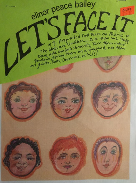Let's Face It - 9 Preprinted Doll Faces On Fabric - Set 1