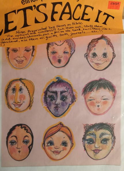 Let's Face It - 9 Preprinted Doll Faces On Fabric - Set 2