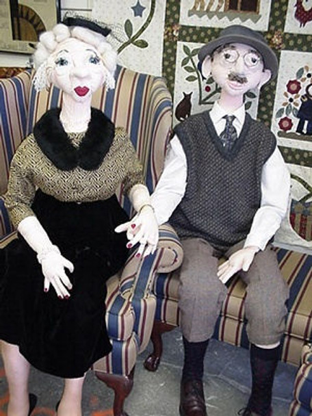 Mildred & the Professor  - Life Sized Cloth Doll Sewing Pattern  - Paper Mailed Pattern by Julie McCullough