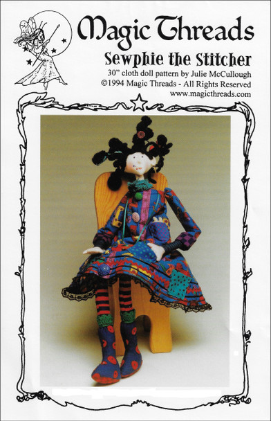 """Sewphie the Stitcher - 30"""" Cloth Doll Sewing Pattern - PDF Download Pattern by Julie McCullough of Magic Threads"""
