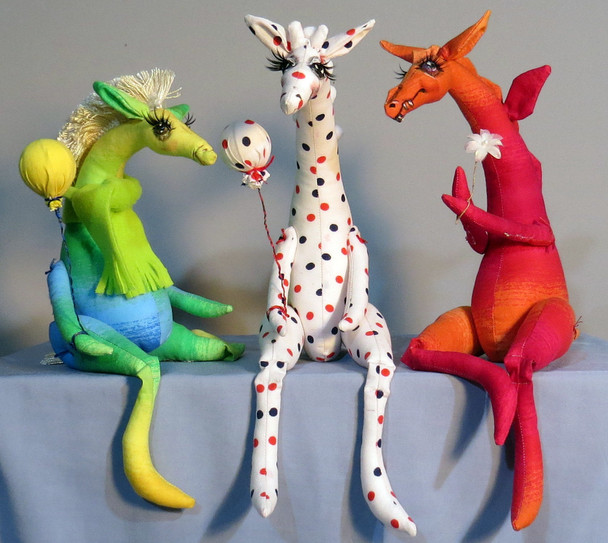 Whimpey Dragon, Giraffe & Horse ,  Cloth Animal Doll Pattern by Sharon Mitchell