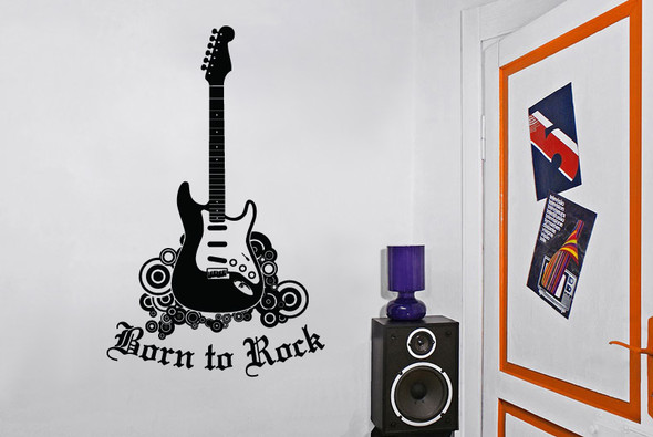 Guitar Wall Decals, rock n' roll wall decal, kids wall decals, born to rock wall decal