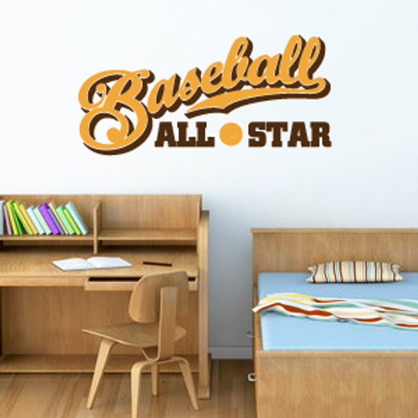 Sports wall decals, word wall decals, baseball wall decals
