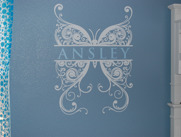 Butterfly monogram Wall Decals