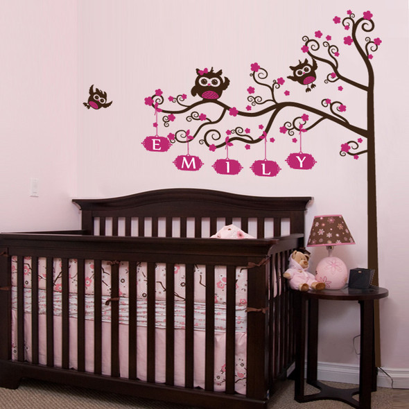kids wall decal, tree wall decal, owl and tree wall decal, nursery wall decal