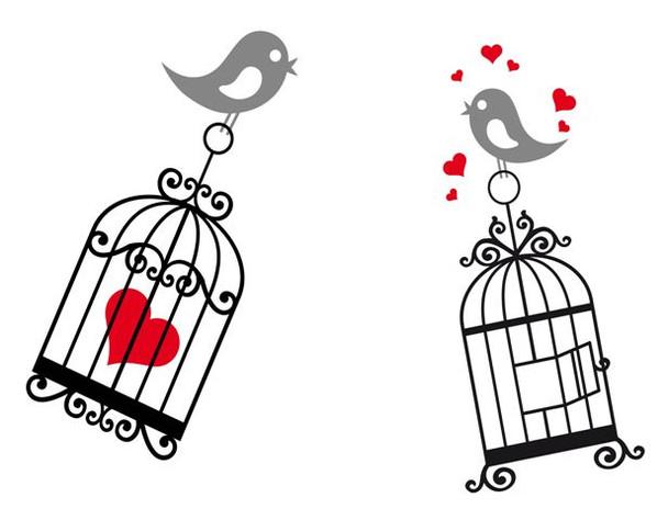 Birds, birdcage wall decal