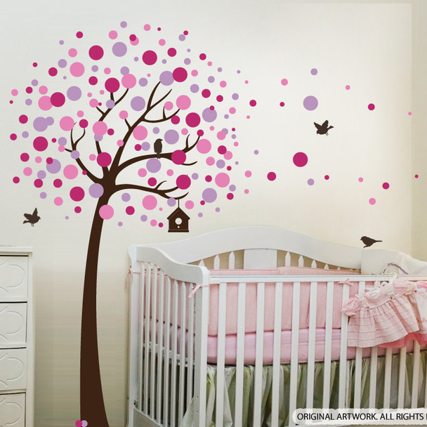 Dots Tree Wall decal with Birds
