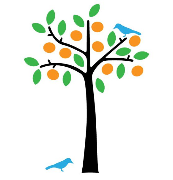 Citrus Tree with Birds Wall Decal