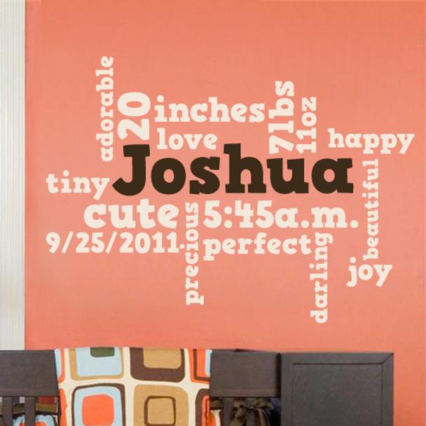 Nursery Wordle Word Cloud Wall Decal