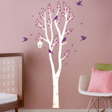 Birch Tree With Bird House Birds Wall Decal Decalmywall Com