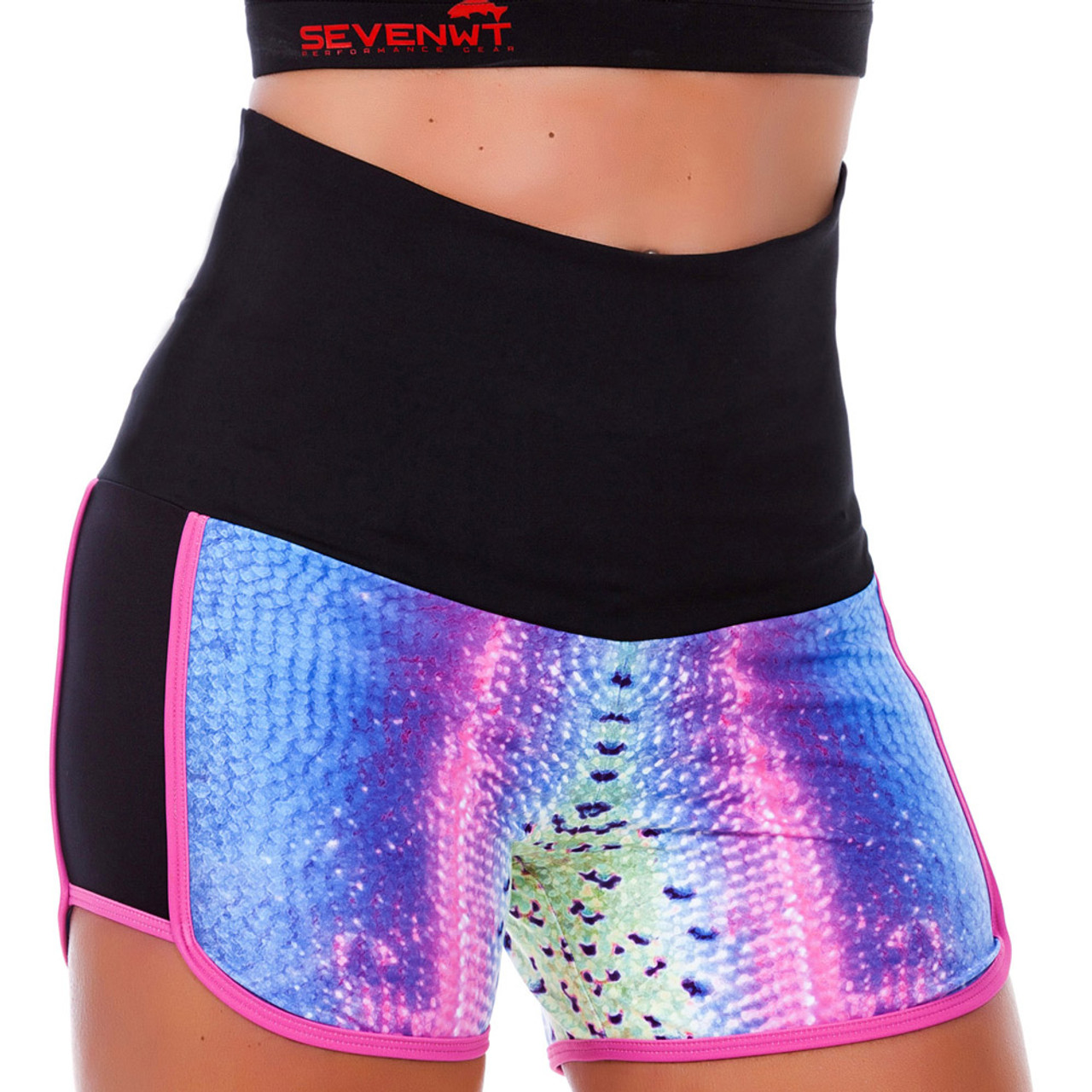 ab45050806afd5 SEVENWT Rainbow Trout Stream Runner Shorts Women Running Exercise Stretchy  Comfort Moisture Wicking Quick Dry UPF