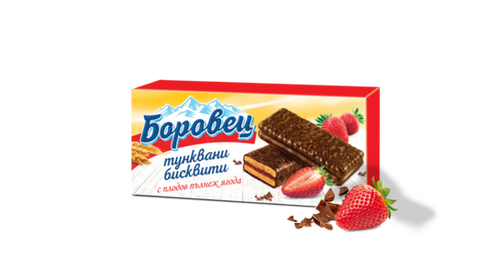 """Borovets"" biscuits with strawberry filling and cocoa coating - 216 g."