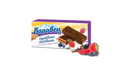 """Borovets"" biscuits with wildberries filling and cocoa coating - 216 g."