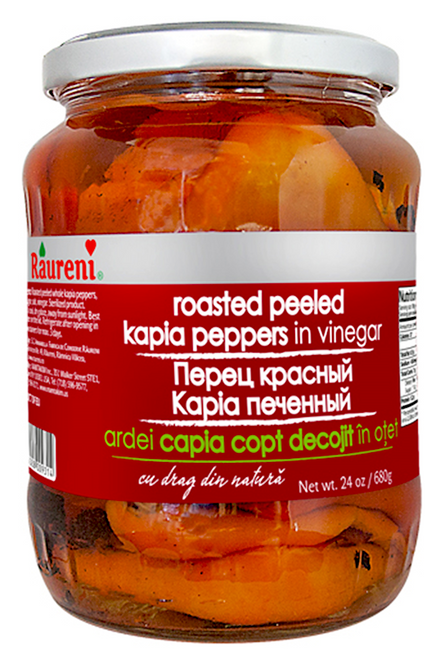Raureni ROASTED Sweet Red KAPIA Peppers in Vinegar 700g