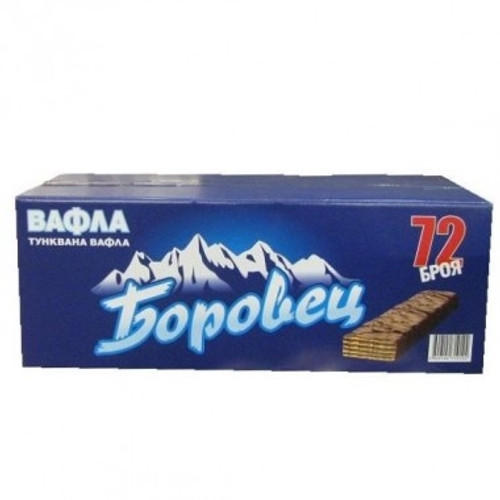 "Wafer ""Borovets"" with cocoa glaze 55 g box 72pc"