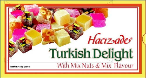 Hacizade Turkish Delight with Mix Nuts and Mix Flayvor 454g