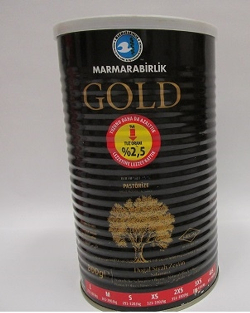 Natural Fermented Pasteurized Gold Black Olives in Can – 1.8lb