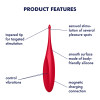 Satisfyer Twirling Fun Rechargeable Waterproof Silicone Clitoral Vibrator - Red