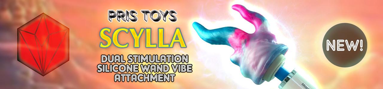 NEW! Pris Toys Scylla Dual Stimulation Silicone Wand Vibe Attachment