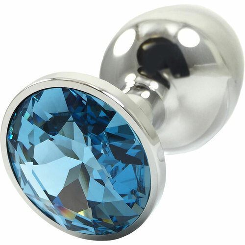 Pretty Plugs Aqua Crystal And Stainless Steel Butt Plug - Small