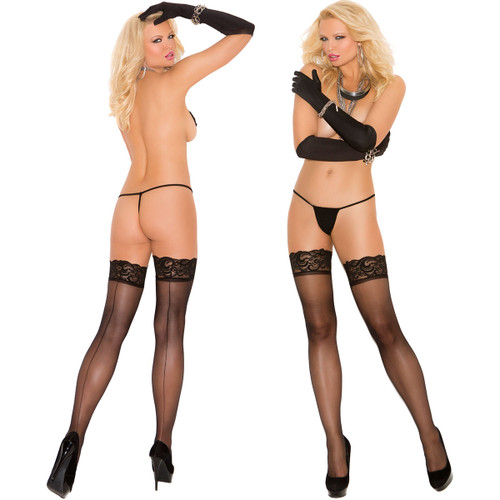 Elegant Moments Sheer Thigh-High With Lace Top And Back Seam - Black