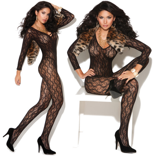Vivace Long Sleeve Lace Bodystocking by Elegant Moments