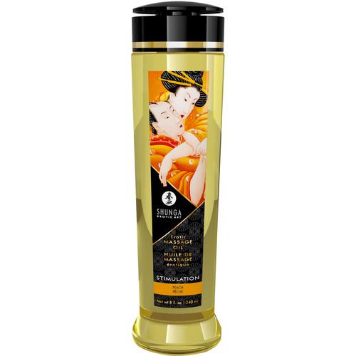 Shunga Erotic Massage Oil - Stimulation - Peach Scented 8 fl. oz