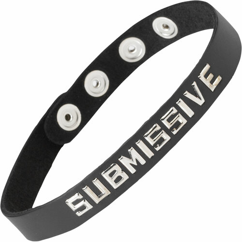 Spartacus Wordband Collar - Submissive, Black