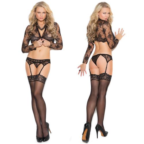 Elegant Moments Black Lace Garter Belt & Matching Thong