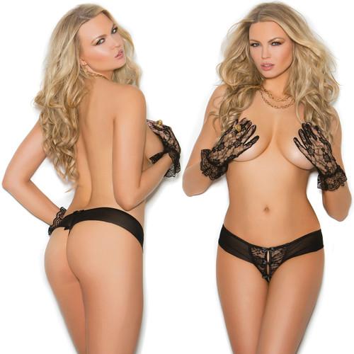 Elegant Moments Lace & Mesh Crotchless Panty - Black