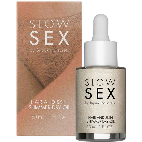 Slow Sex Hair And Skin Shimmer Dry Oil By Bijoux Indiscrets - 1 oz