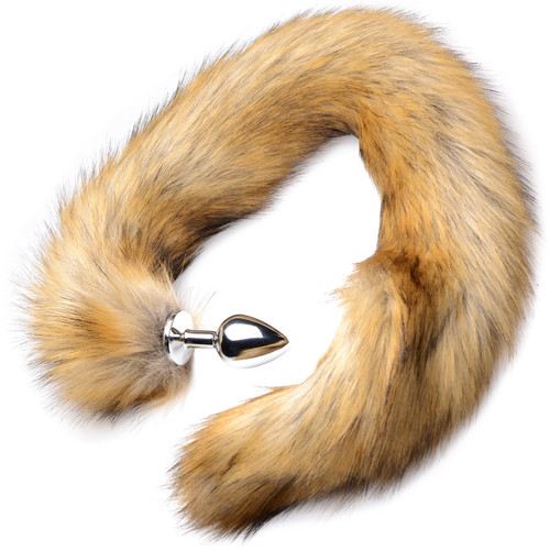 Tailz Aluminum Anal Plug With Extra Long Brown Faux Mink Tail