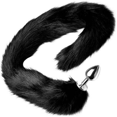 Tailz Aluminum Anal Plug With Extra Long Black Faux Mink Tail