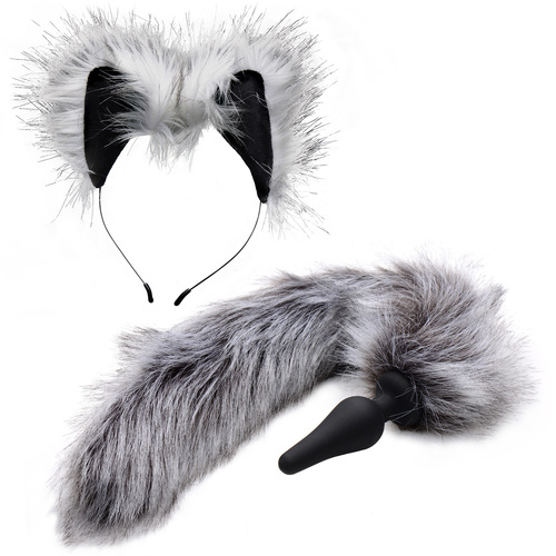 Tailz Black Silicone Anal Plug With Grey Wolf Faux Fur Tail & Matching Ears