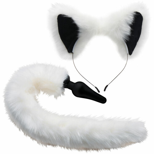 Tailz Black Silicone Anal Plug With White Fox Faux Fur Tail & Matching Ears