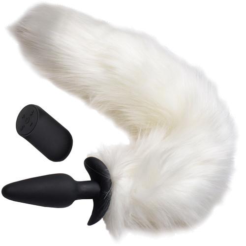 Tailz White Fox Vibrating Slender Silicone Anal Plug With White Faux Fur Tail & Remote