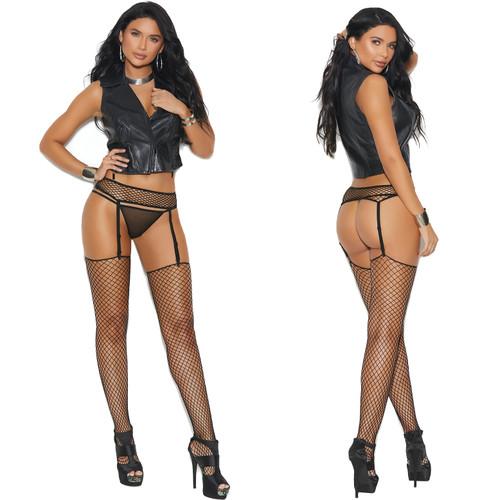 Elegant Moments Black Fence Net Garter Belt with Matching Stockings