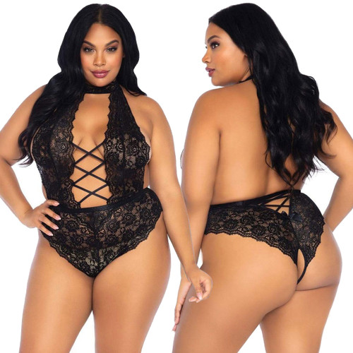 Insatiable High Neck Backless Crotchless Lace Teddy by Leg Avenue - Black