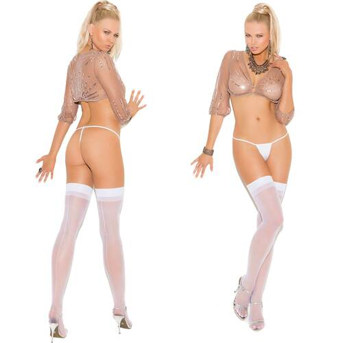 Elegant Moments Sheer Thigh-High With Back Seam - White
