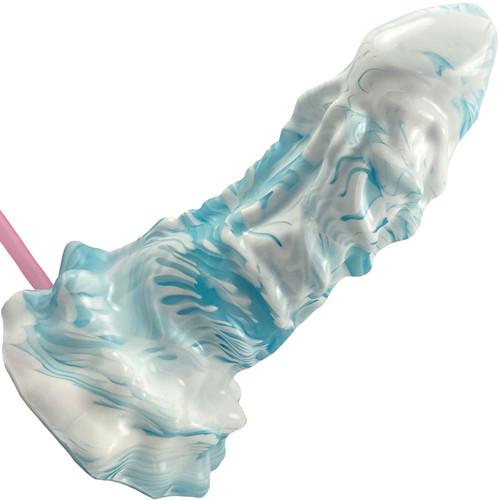 Deep Fantasies Xenomorph Platinum Silicone Fantasy Dildo With Squirt Tube