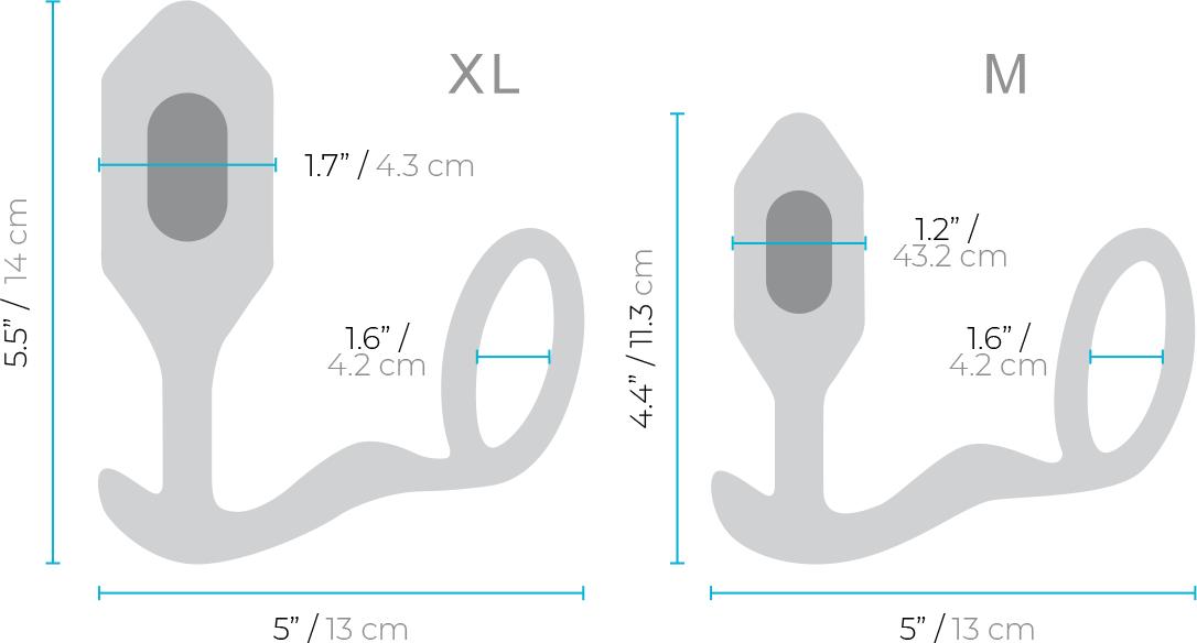 b-Vibe Vibrating Snug & Tug Weighted Silicone Plug & Penis-Ring - Measurements