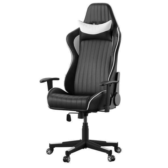 SENNA FAUX LEATHER RACING CHAIR BLACK AND WHITE