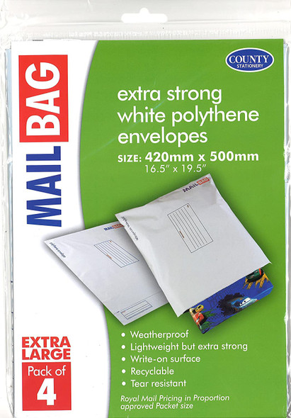 County Stationery Mail Bag Extra Large (Pack of 4)