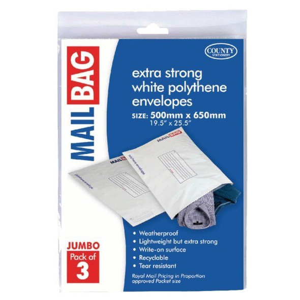 County Stationery Mail Bag Jumbo (Pack of 3)