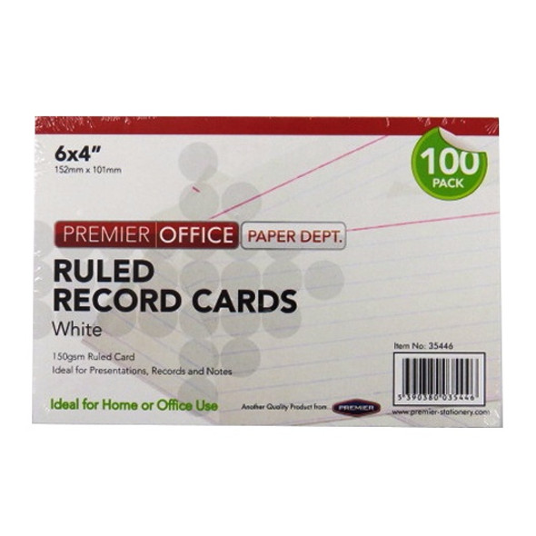 6X4 RULED RECORD CARDS WHITE (PACK OF 100 CARDS)