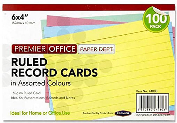 6X4 RULED RECORD CARDS COLOUR (PACK OF 100 CARDS)