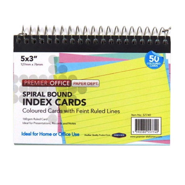 5X3 SPIRAL INDEX CARDS COLOUR (PACK OF 50 CARDS)