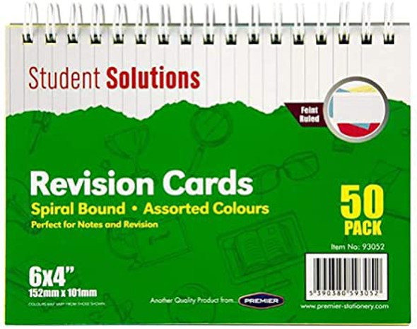 6X4 SPIRAL INDEX CARDS COLOUR (PACK OF 50 CARDS)
