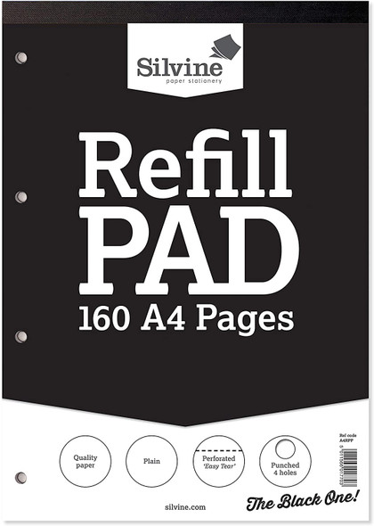 Refill Pad A4 Silvine Black Single
